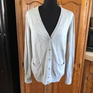 Izod Grey Boyfriend Cardigan Sweater Size Large